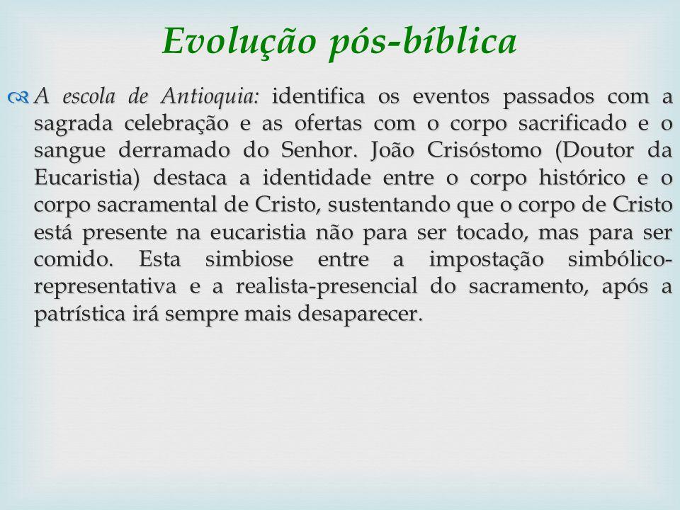 Evolução pós-bíblica A escola de Antioquia: identifica os eventos passados com a sagrada celebração e as ofertas com o corpo sacrificado e o sangue de