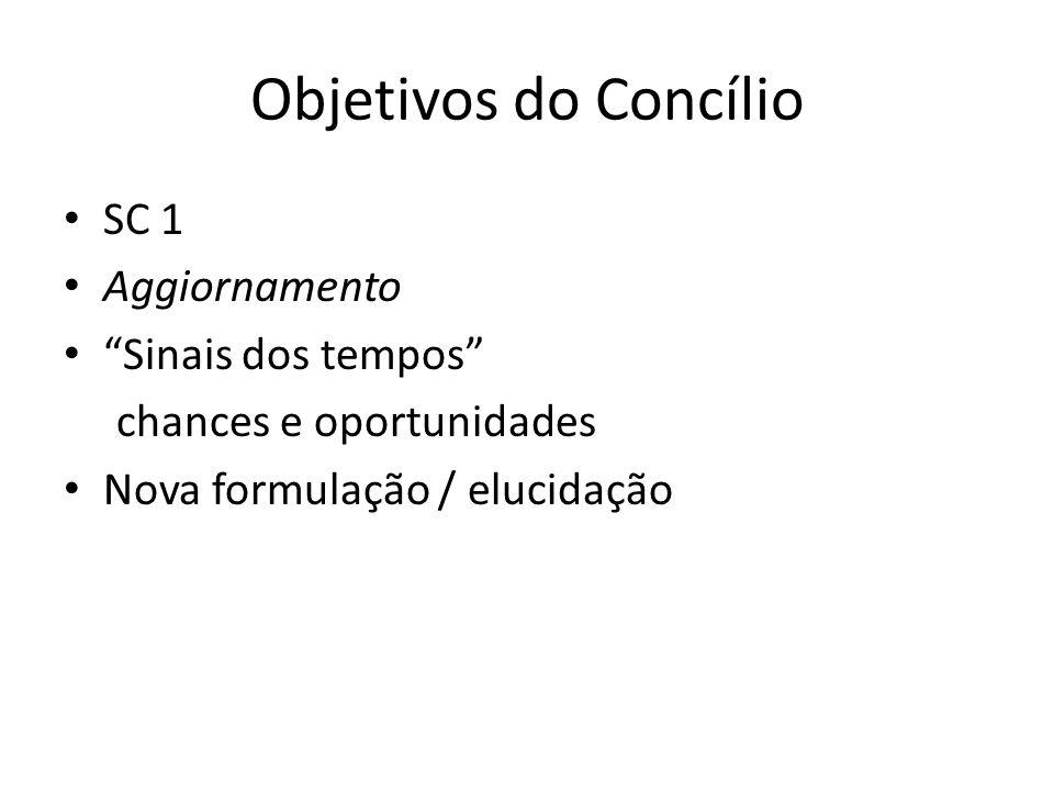 Objetivos do Concílio SC 1 Aggiornamento Sinais dos tempos chances e oportunidades Nova formulação / elucidação