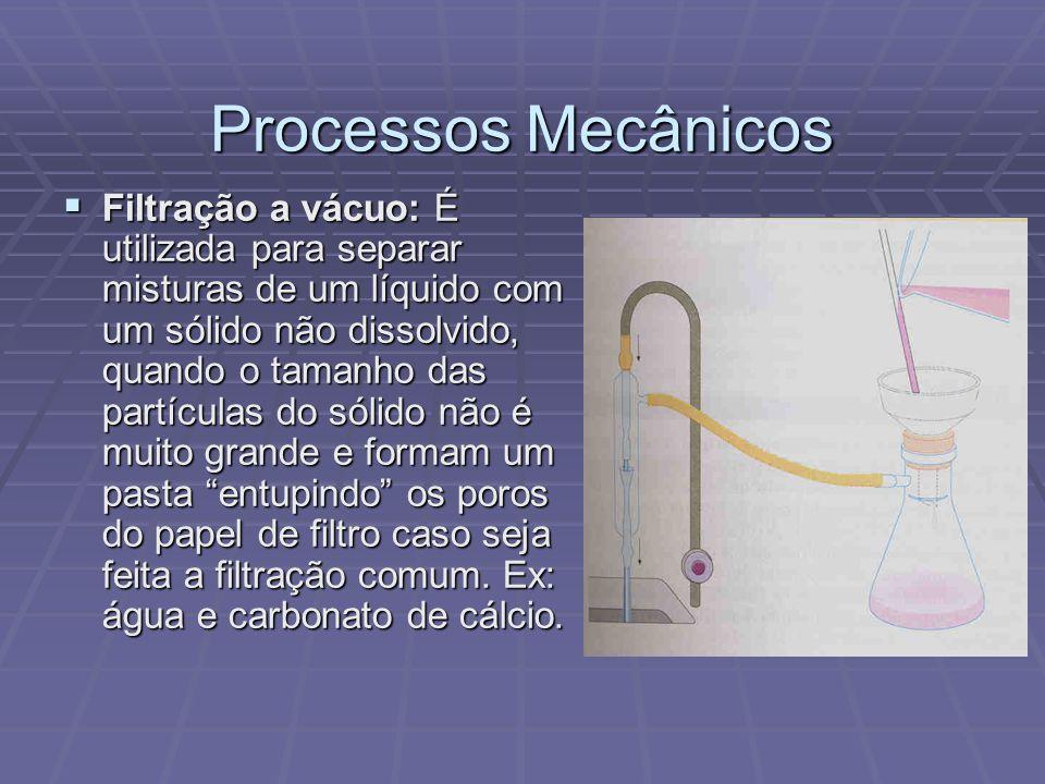 Processos Mecânicos Filtração a vácuo: É utilizada para separar misturas de um líquido com um sólido não dissolvido, quando o tamanho das partículas d