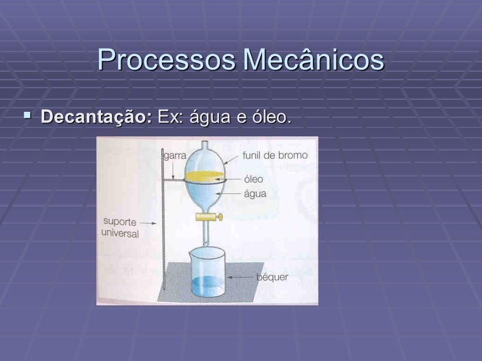 Processos Mecânicos Decantação: Ex: água e óleo. Decantação: Ex: água e óleo.
