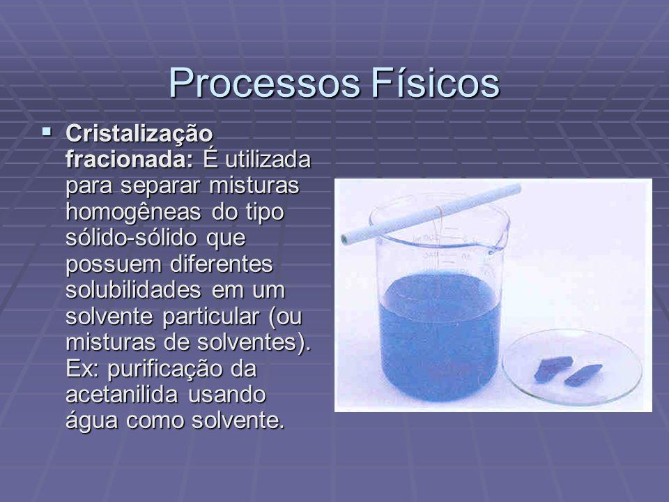 Processos Físicos Cristalização fracionada: É utilizada para separar misturas homogêneas do tipo sólido-sólido que possuem diferentes solubilidades em