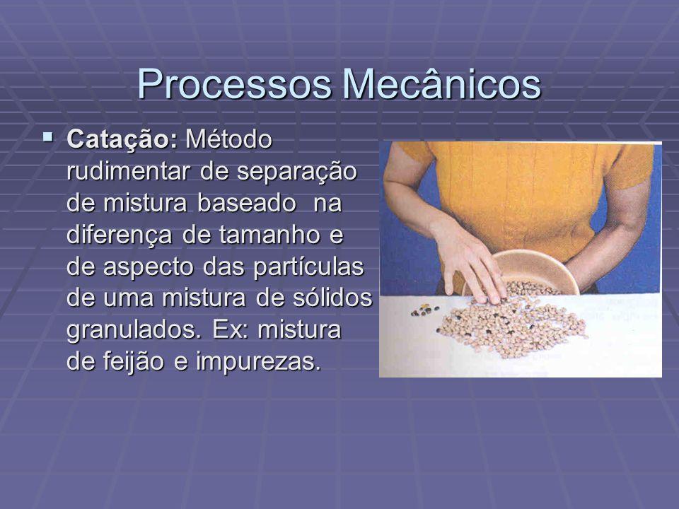 Processos Mecânicos Peneiração ou tamisação: Utilizado quando uma mistura de sólidos granulados, cujo tamanho das partículas é sensivelmente diferente, é colocada sobre uma peneira e submetida à agitação.