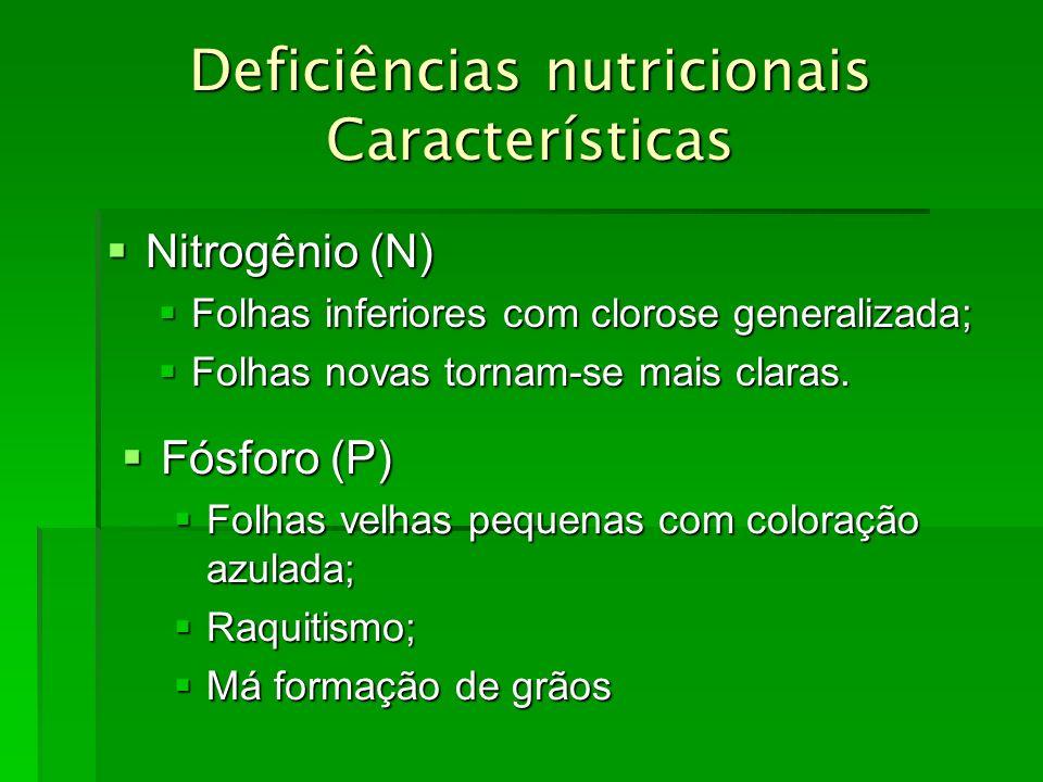 Deficiências nutricionais Características Nitrogênio (N) Nitrogênio (N) Folhas inferiores com clorose generalizada; Folhas inferiores com clorose gene