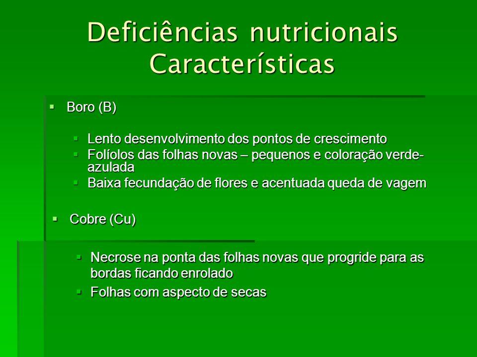Deficiências nutricionais Características Boro (B) Boro (B) Lento desenvolvimento dos pontos de crescimento Lento desenvolvimento dos pontos de cresci