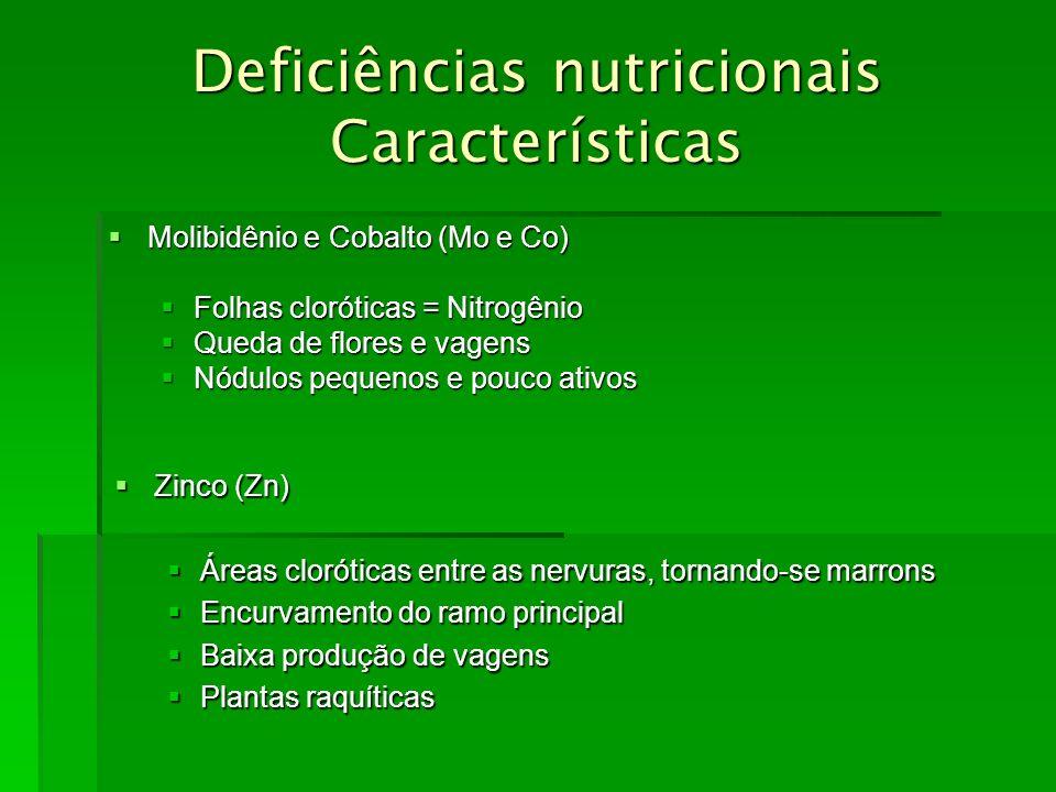 Deficiências nutricionais Características Molibidênio e Cobalto (Mo e Co) Molibidênio e Cobalto (Mo e Co) Folhas cloróticas = Nitrogênio Folhas clorót