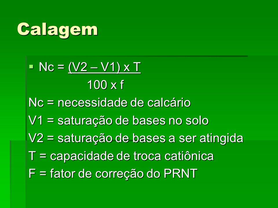 Calagem Nc = (V2 – V1) x T Nc = (V2 – V1) x T 100 x f 100 x f Nc = necessidade de calcário V1 = saturação de bases no solo V2 = saturação de bases a s