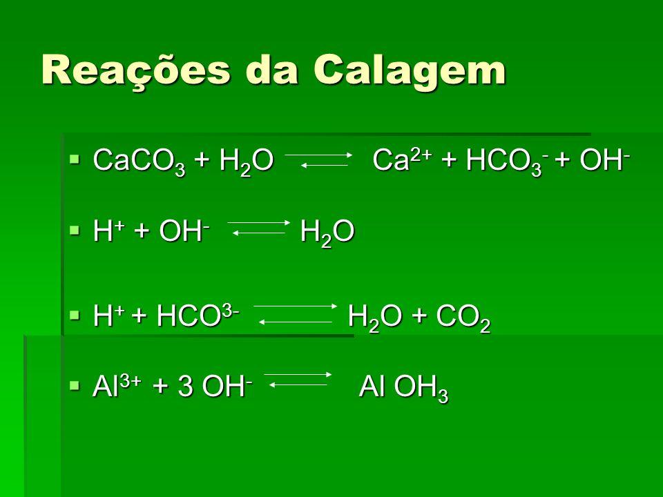 Reações da Calagem CaCO 3 + H 2 O Ca 2+ + HCO 3 - + OH - CaCO 3 + H 2 O Ca 2+ + HCO 3 - + OH - H + + OH - H 2 O H + + OH - H 2 O H + + HCO 3- H 2 O +