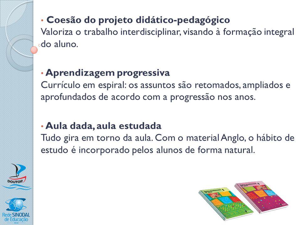Coesão do projeto didático-pedagógico Valoriza o trabalho interdisciplinar, visando à formação integral do aluno. Aprendizagem progressiva Currículo e