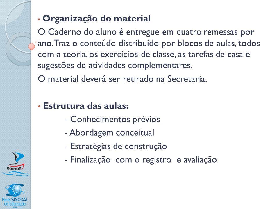 Organização do material O Caderno do aluno é entregue em quatro remessas por ano. Traz o conteúdo distribuído por blocos de aulas, todos com a teoria,