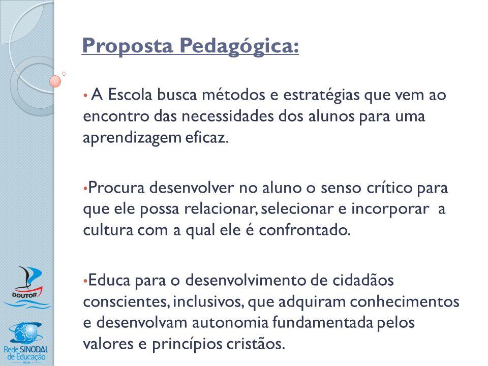 Proposta Pedagógica: A Escola busca métodos e estratégias que vem ao encontro das necessidades dos alunos para uma aprendizagem eficaz. Procura desenv