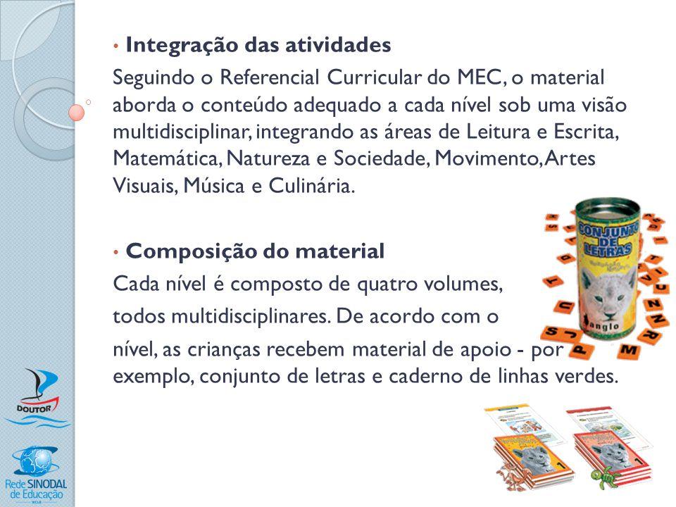 Integração das atividades Seguindo o Referencial Curricular do MEC, o material aborda o conteúdo adequado a cada nível sob uma visão multidisciplinar,