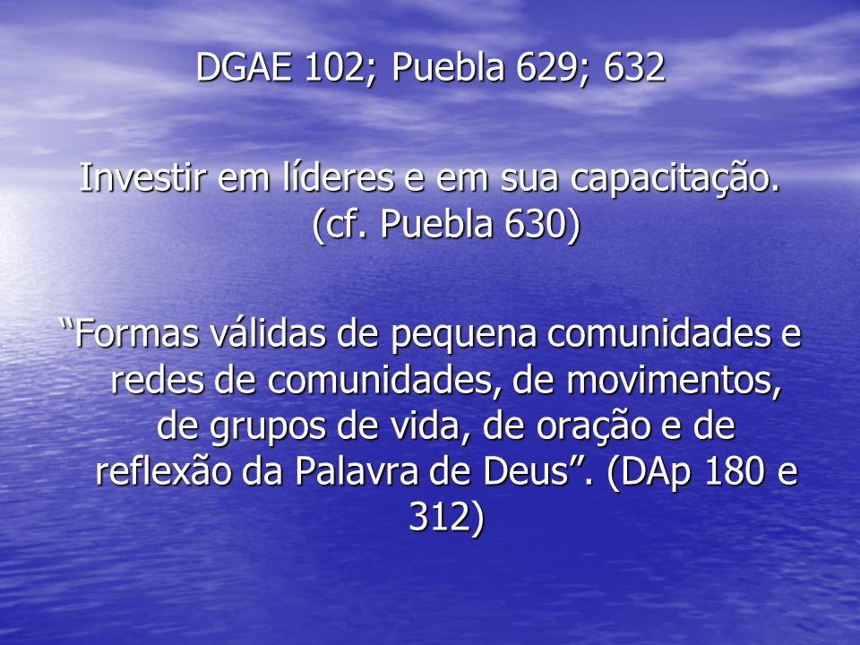 DGAE 102; Puebla 629; 632 Investir em líderes e em sua capacitação.