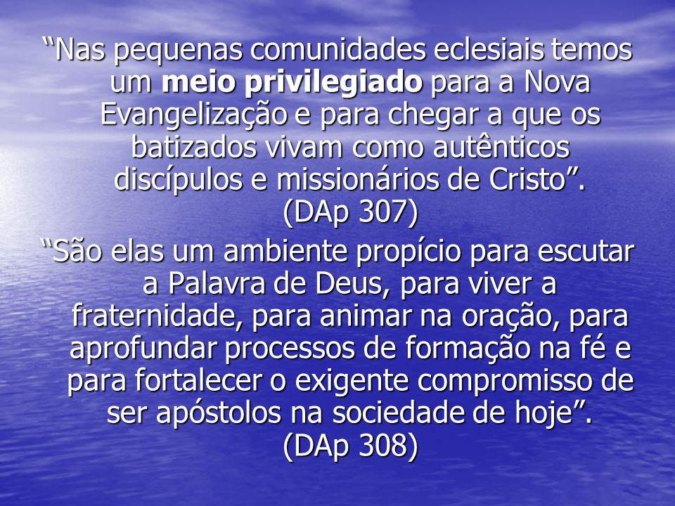 Nas pequenas comunidades eclesiais temos um meio privilegiado para a Nova Evangelização e para chegar a que os batizados vivam como autênticos discípulos e missionários de Cristo.