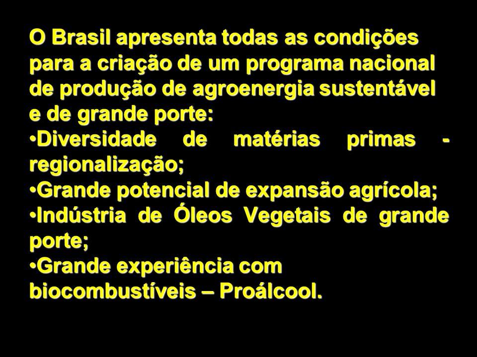 O Brasil apresenta todas as condições para a criação de um programa nacional de produção de agroenergia sustentável e de grande porte: Diversidade de