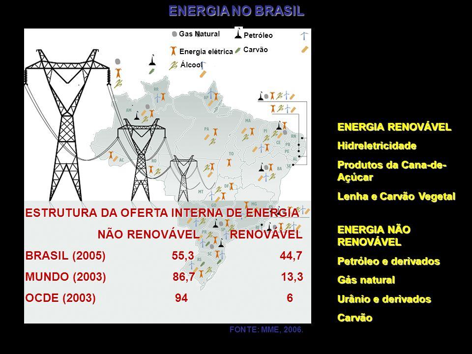 ENERGIA NO BRASIL Gas Natural Energia elétrica Álcool Petróleo Carvão Energia Eólica Biodiesel FONTE: MME, 2006. ESTRUTURA DA OFERTA INTERNA DE ENERGI