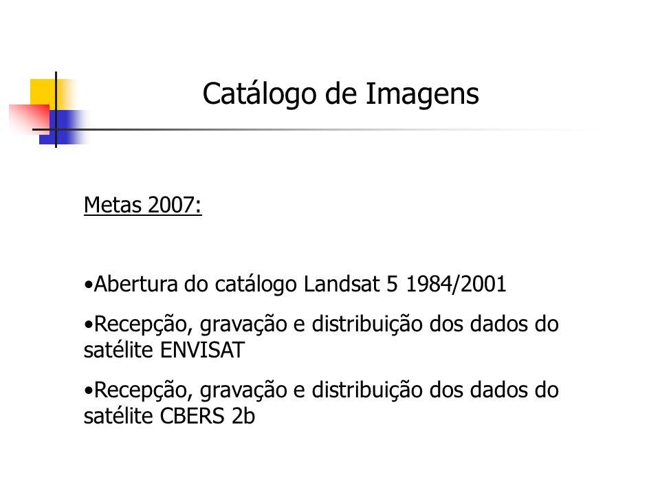 Pedidos por País de 2006-04-01 até 2006-10-13 (Satélite CBERS2) Catálogo de Imagens Metas 2007: Abertura do catálogo Landsat 5 1984/2001 Recepção, gravação e distribuição dos dados do satélite ENVISAT Recepção, gravação e distribuição dos dados do satélite CBERS 2b