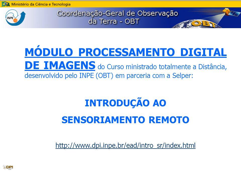 MÓDULO PROCESSAMENTO DIGITAL DE IMAGENS do Curso ministrado totalmente a Distância, desenvolvido pelo INPE (OBT) em parceria com a Selper: INTRODUÇÃO