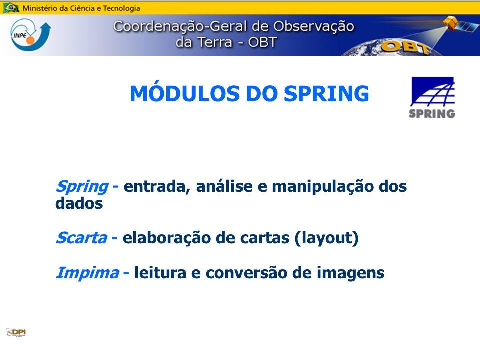MÓDULOS DO SPRING Spring - entrada, análise e manipulação dos dados Scarta - elaboração de cartas (layout) Impima - leitura e conversão de imagens