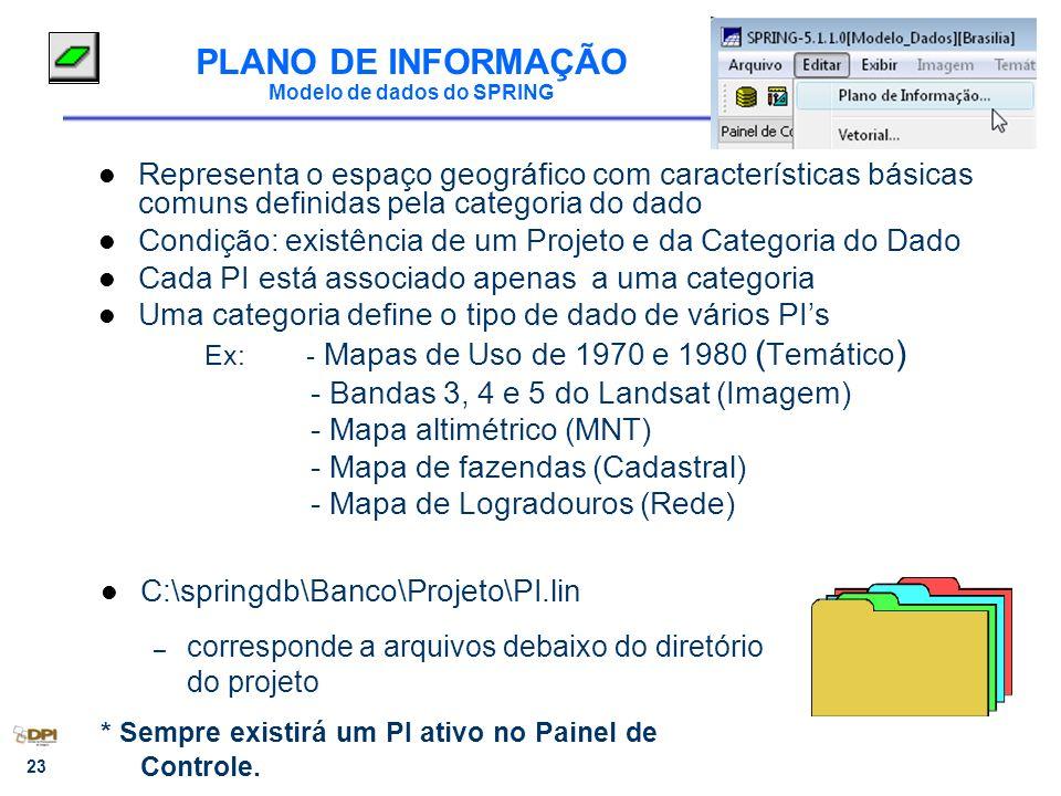 23 PLANO DE INFORMAÇÃO Modelo de dados do SPRING Representa o espaço geográfico com características básicas comuns definidas pela categoria do dado Co