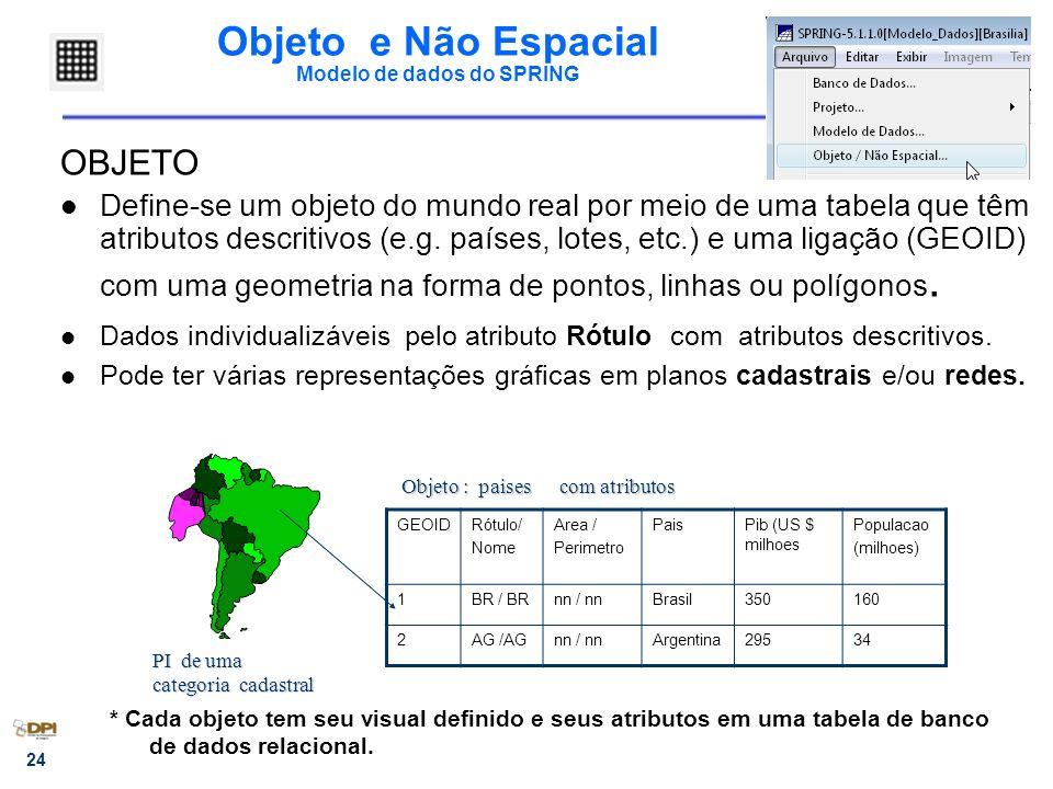 24 Objeto e Não Espacial Modelo de dados do SPRING OBJETO Define-se um objeto do mundo real por meio de uma tabela que têm atributos descritivos (e.g.