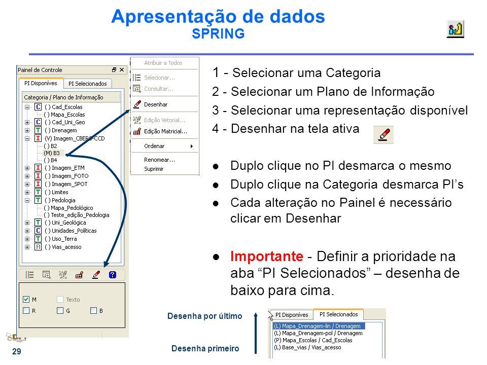 29 Apresentação de dados SPRING 1 - Selecionar uma Categoria 2 - Selecionar um Plano de Informação 3 - Selecionar uma representação disponível 4 - Des