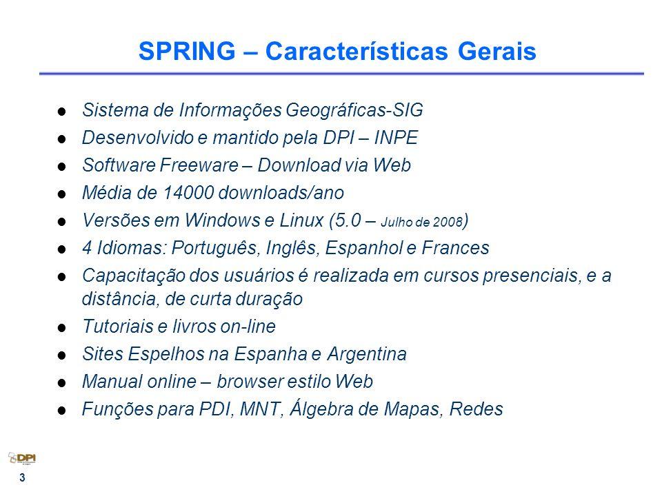 3 SPRING – Características Gerais Sistema de Informações Geográficas-SIG Desenvolvido e mantido pela DPI – INPE Software Freeware – Download via Web M