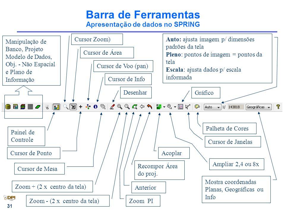 31 Barra de Ferramentas Apresentação de dados no SPRING Cursor Zoom) Cursor de Voo (pan) Desenhar Zoom + (2 x centro da tela) Zoom - (2 x centro da te