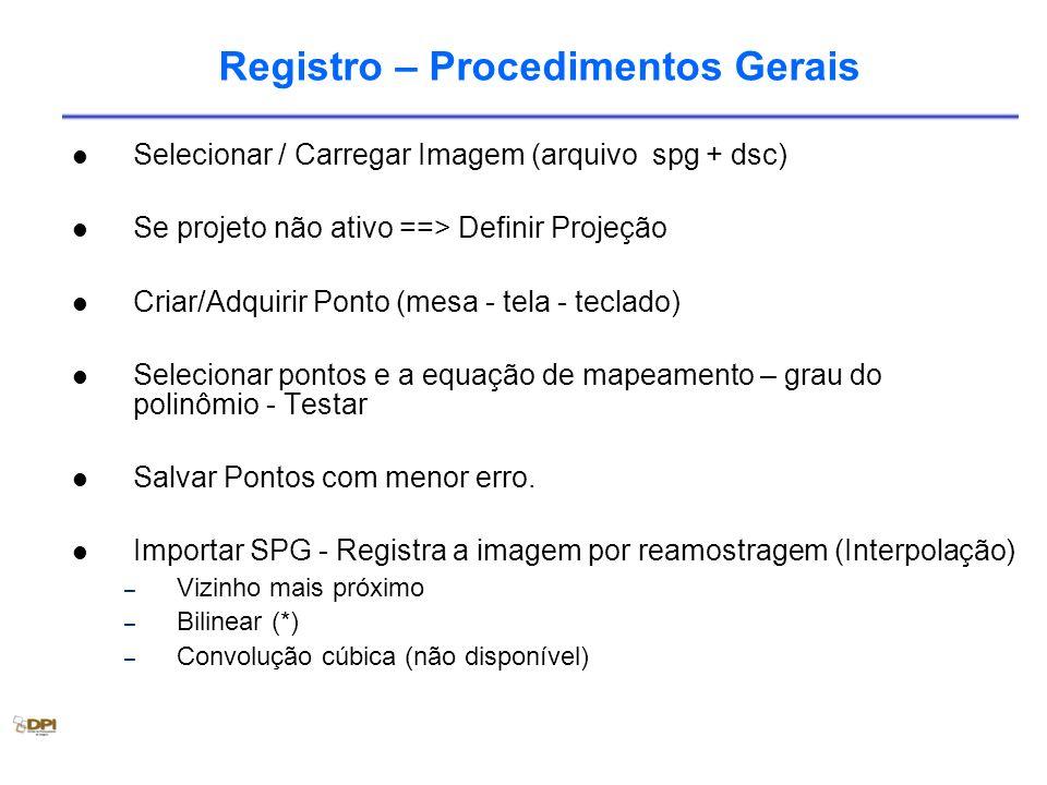 Registro – Procedimentos Gerais Selecionar / Carregar Imagem (arquivo spg + dsc) Se projeto não ativo ==> Definir Projeção Criar/Adquirir Ponto (mesa