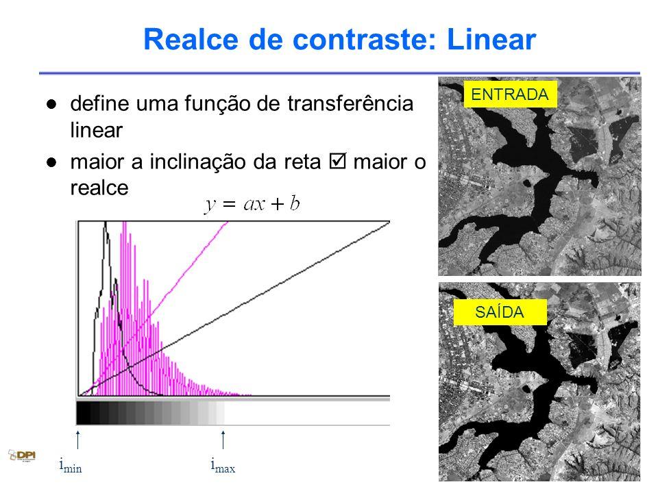 Realce de contraste: Linear define uma função de transferência linear maior a inclinação da reta maior o realce i min i max SAÍDA ENTRADA
