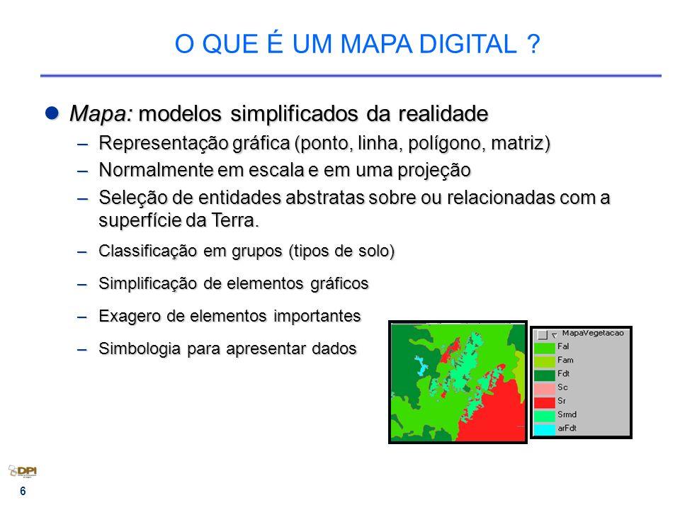 6 O QUE É UM MAPA DIGITAL ? Mapa:modelos simplificados da realidade Mapa: modelos simplificados da realidade –Representação gráfica (ponto, linha, pol