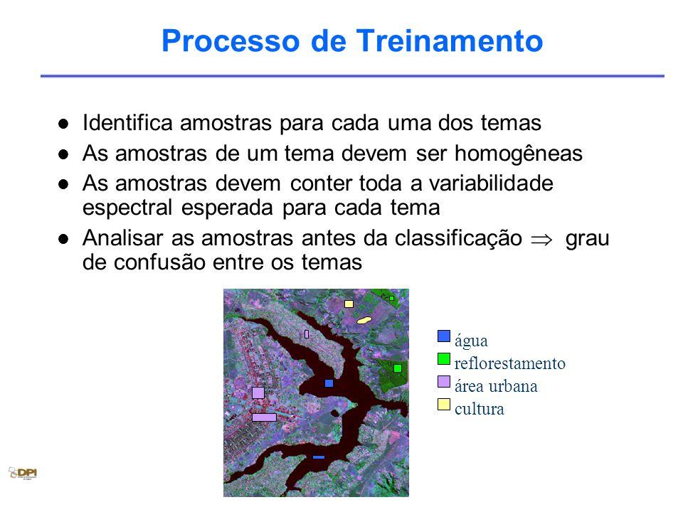 Processo de Treinamento Identifica amostras para cada uma dos temas As amostras de um tema devem ser homogêneas As amostras devem conter toda a variab