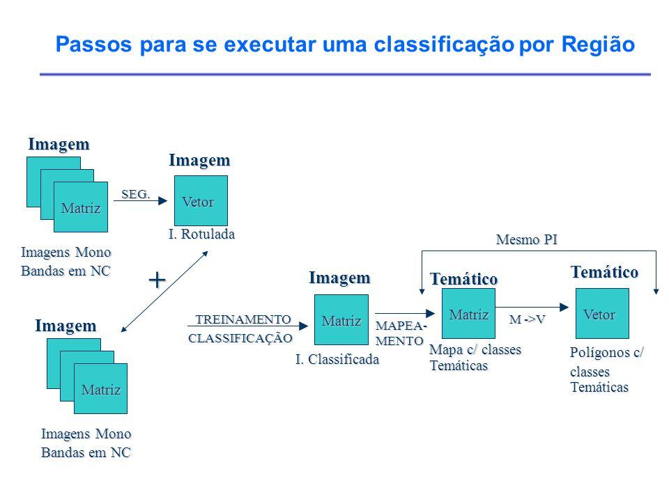 Imagens Mono Bandas em NC Imagem Matriz SEG. I. Rotulada Imagem Vetor TREINAMENTO CLASSIFICAÇÃO Imagens Mono Bandas em NC Imagem Matriz Mapa c/ classe