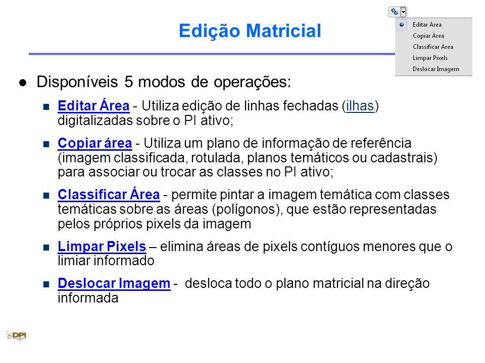 Edição Matricial Disponíveis 5 modos de operações: Editar Área - Utiliza edição de linhas fechadas (ilhas) digitalizadas sobre o PI ativo;ilhas Copiar