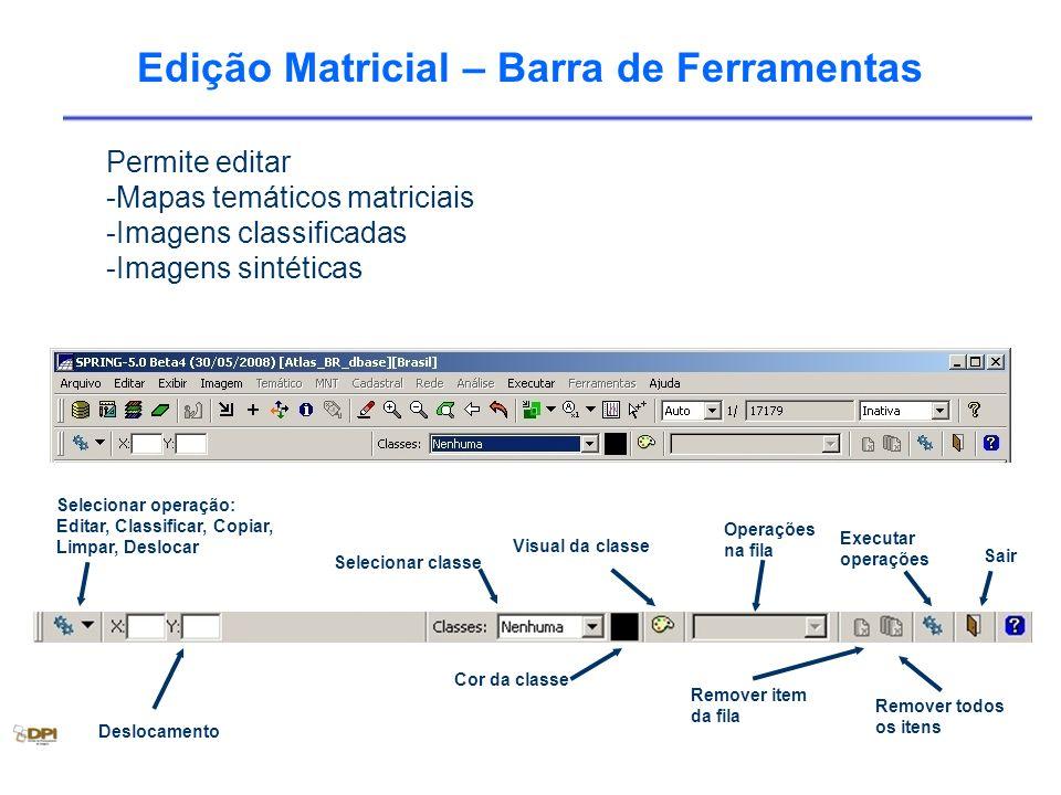 Edição Matricial – Barra de Ferramentas Selecionar operação: Editar, Classificar, Copiar, Limpar, Deslocar Selecionar classe Operações na fila Sair Re