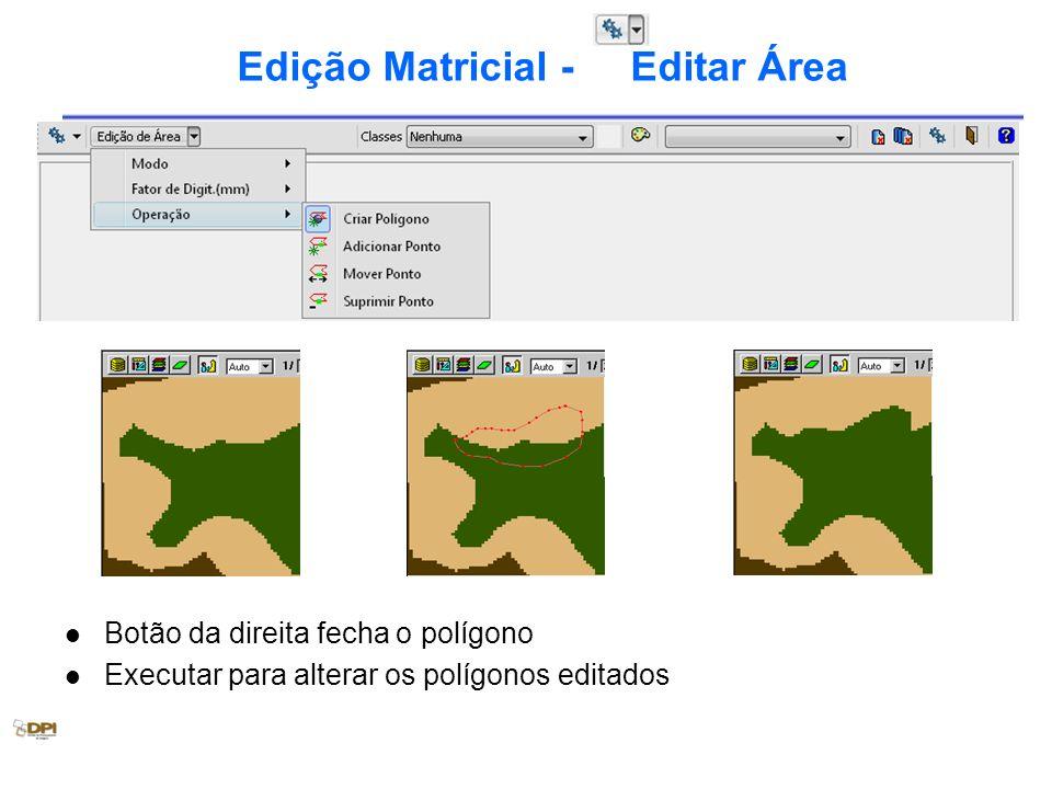 Edição Matricial - Editar Área Botão da direita fecha o polígono Executar para alterar os polígonos editados