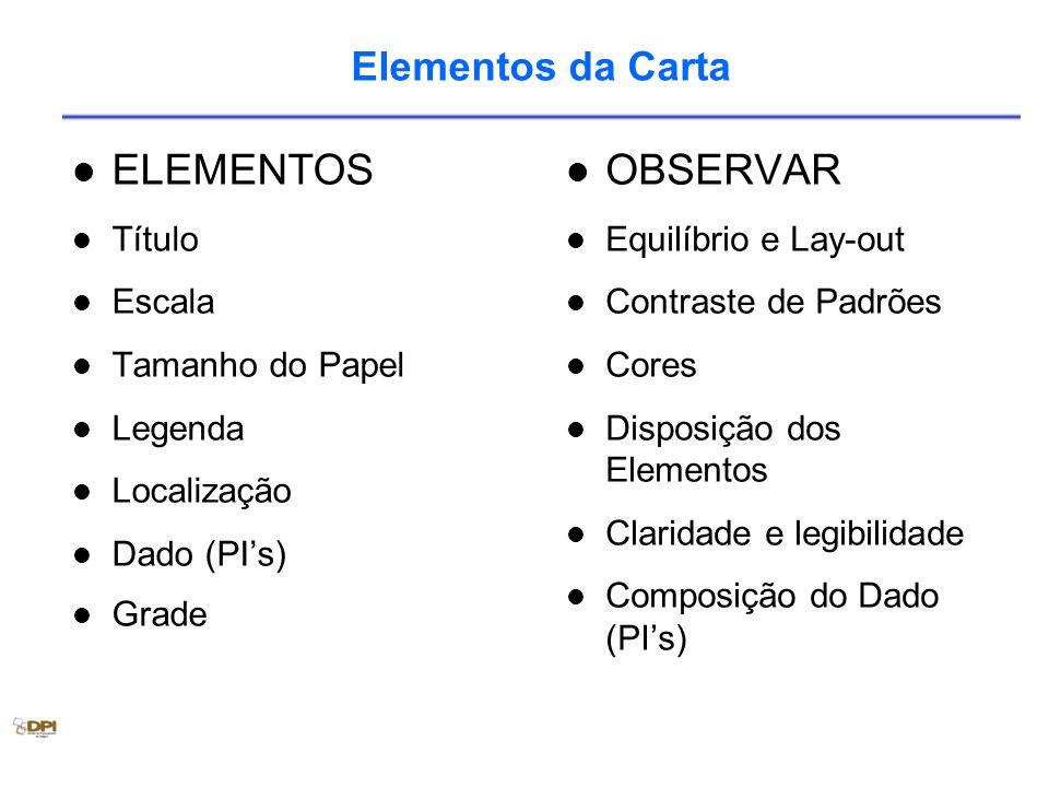 Elementos da Carta ELEMENTOS Título Escala Tamanho do Papel Legenda Localização Dado (PIs) Grade OBSERVAR Equilíbrio e Lay-out Contraste de Padrões Co