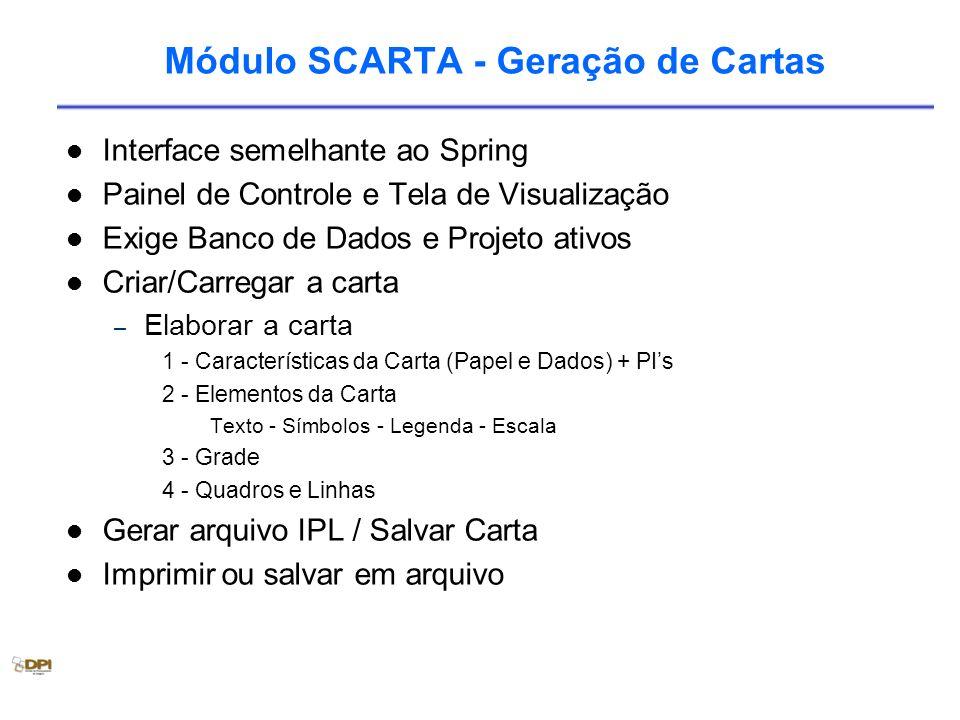 Módulo SCARTA - Geração de Cartas Interface semelhante ao Spring Painel de Controle e Tela de Visualização Exige Banco de Dados e Projeto ativos Criar