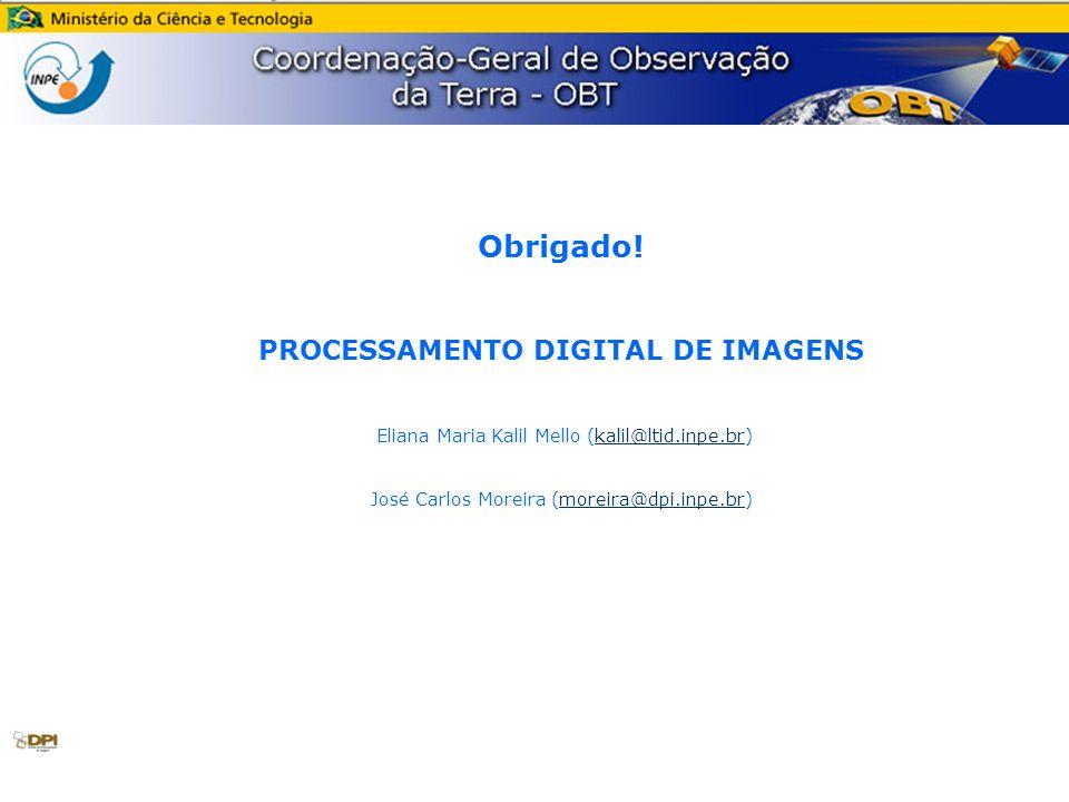 Obrigado! PROCESSAMENTO DIGITAL DE IMAGENS Eliana Maria Kalil Mello (kalil@ltid.inpe.br)kalil@ltid.inpe.br José Carlos Moreira (moreira@dpi.inpe.br)mo