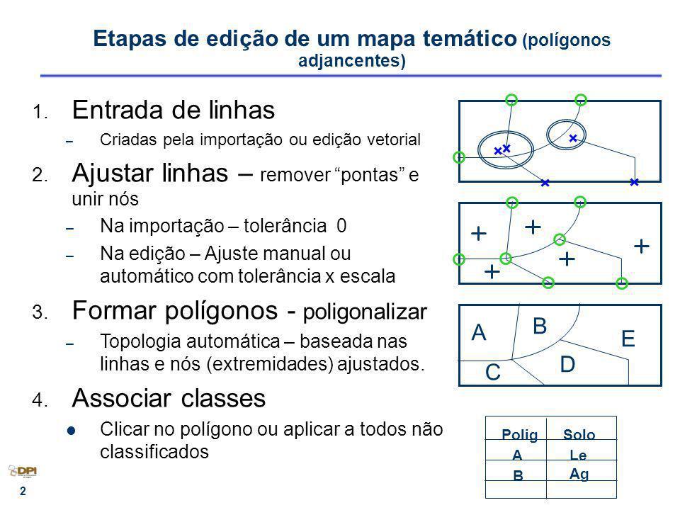 3 Exercício 11 Criar mapa pedológico (tipos de solos) – Importar linhas (ASCII-SPRING - LINES) Entidade Linha com topologia (corresponde as Etapas 1, 2 e 3) 1.