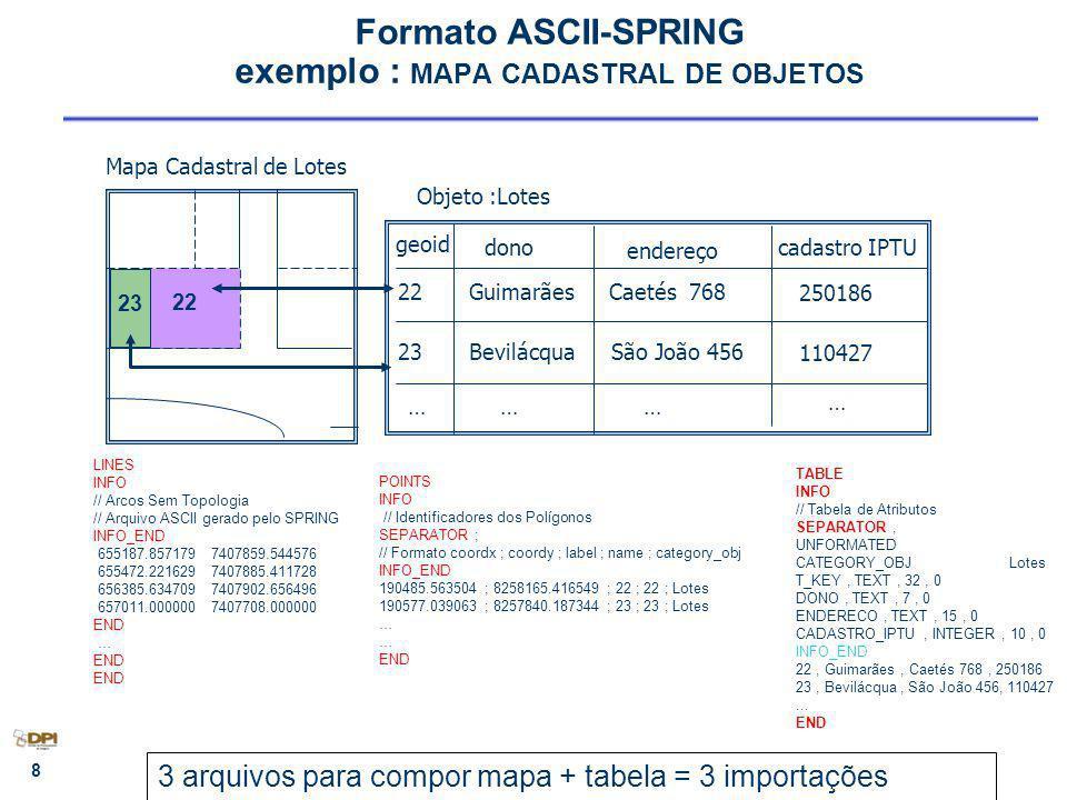 9 Exercício 13 Criar mapa temático de geologia a partir de um cadastral – Importar 3 arquivos em ASCII-SPRING LINES - Entidade Linha com topologia (corresponde as Etapas 1,2,3) POINTS – Entidade Identificadores (corresponde a Etapa 4) TABLE – Operação Atualizar cat.