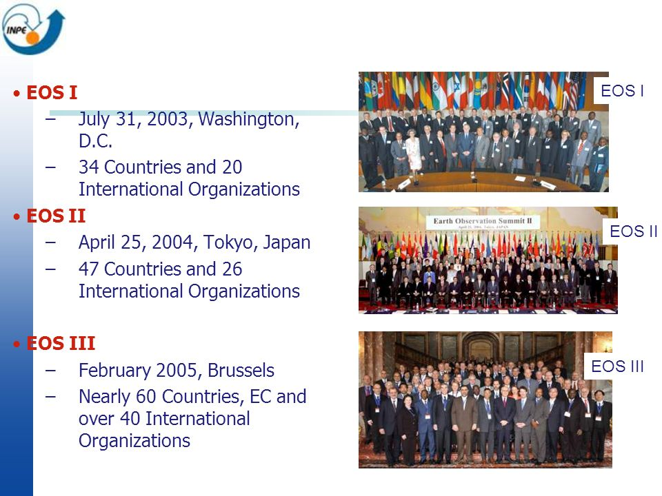 EOS I –July 31, 2003, Washington, D.C. –34 Countries and 20 International Organizations EOS II –April 25, 2004, Tokyo, Japan –47 Countries and 26 Inte