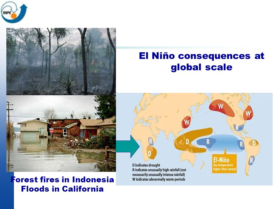 El Niño consequences at global scale Forest fires in Indonesia Floods in California