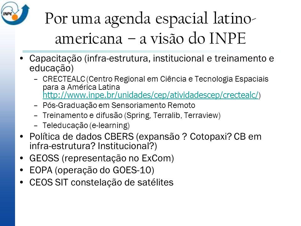 Por uma agenda espacial latino- americana – a visão do INPE Capacitação (infra-estrutura, institucional e treinamento e educação) –CRECTEALC (Centro R