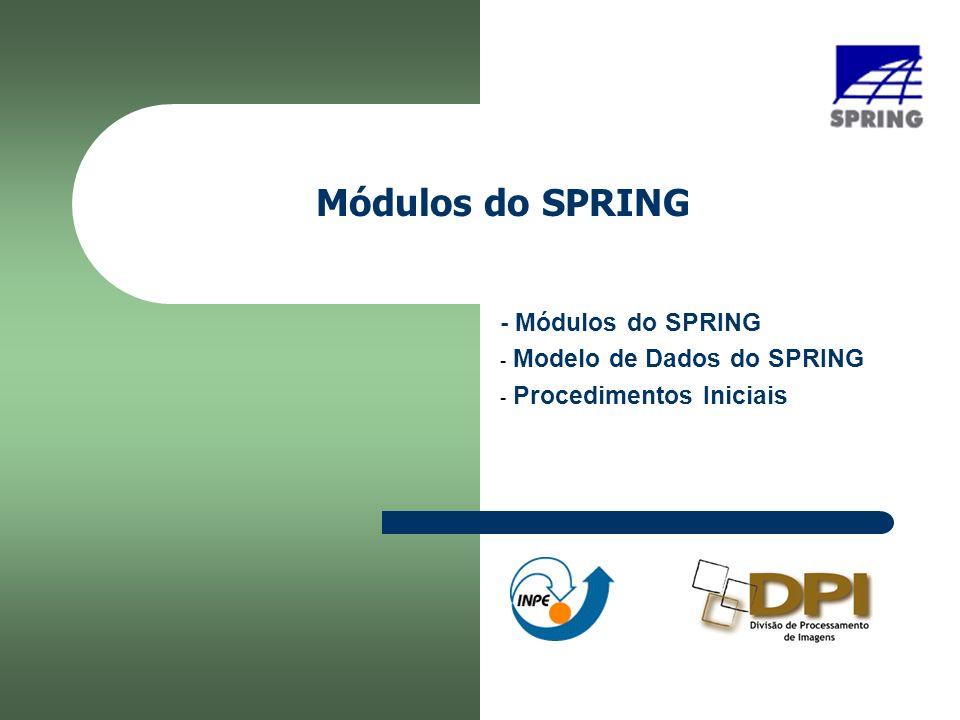 Módulos do SPRING - Módulos do SPRING - Modelo de Dados do SPRING - Procedimentos Iniciais