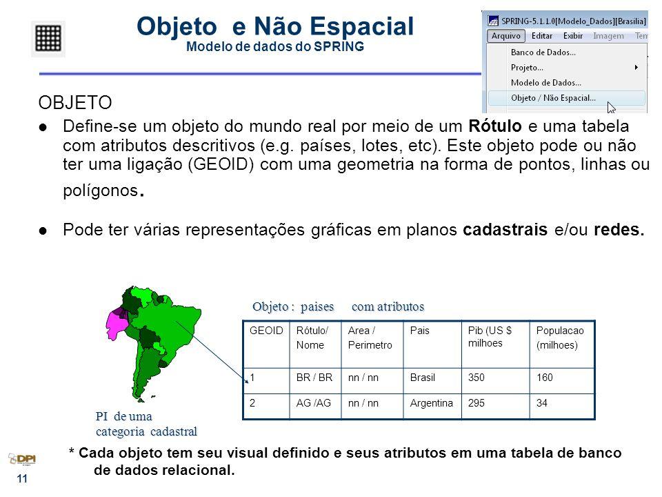 11 Objeto e Não Espacial Modelo de dados do SPRING OBJETO Define-se um objeto do mundo real por meio de um Rótulo e uma tabela com atributos descritivos (e.g.