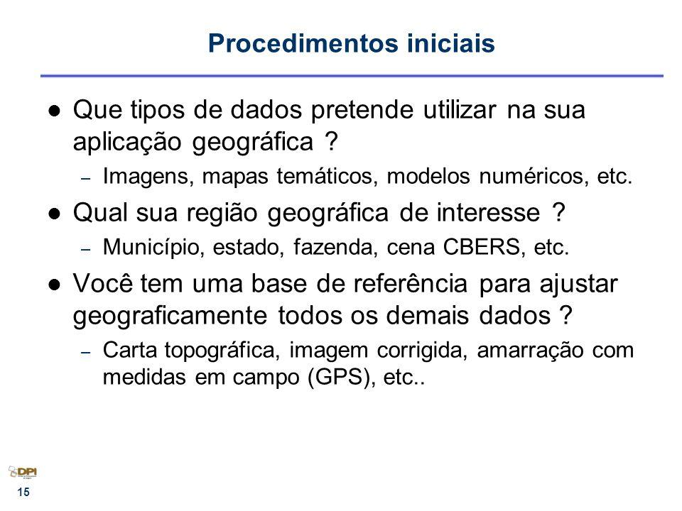 15 Procedimentos iniciais Que tipos de dados pretende utilizar na sua aplicação geográfica ? – Imagens, mapas temáticos, modelos numéricos, etc. Qual