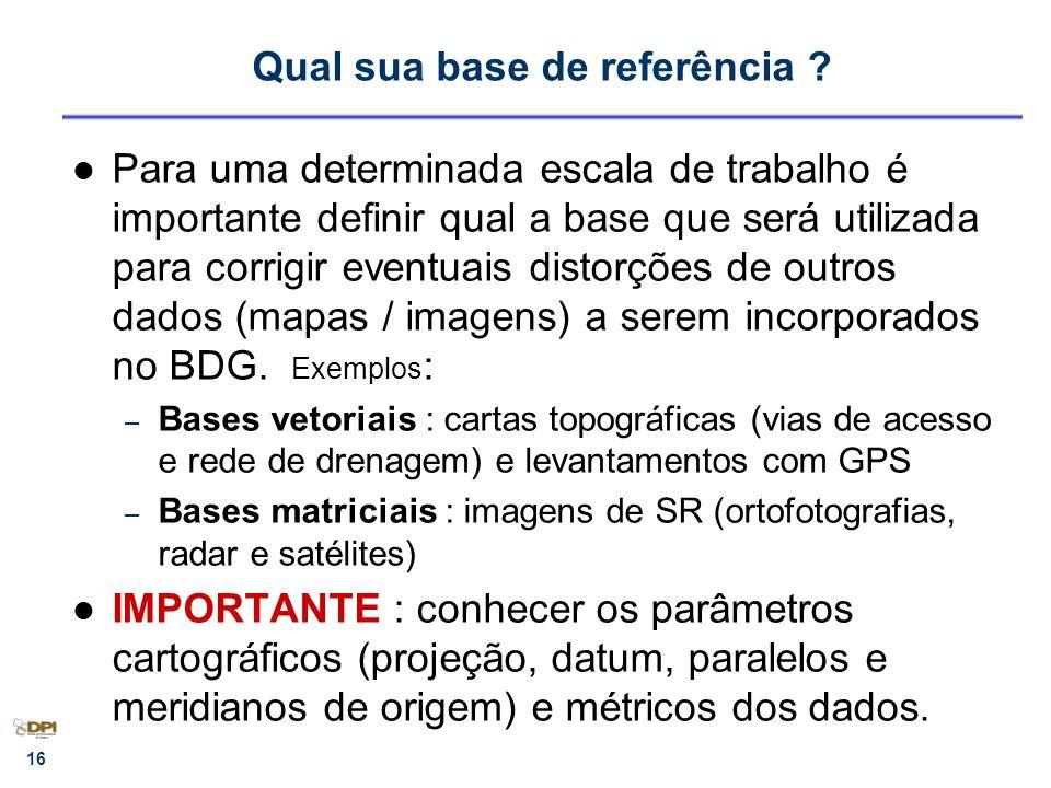 16 Qual sua base de referência ? Para uma determinada escala de trabalho é importante definir qual a base que será utilizada para corrigir eventuais d