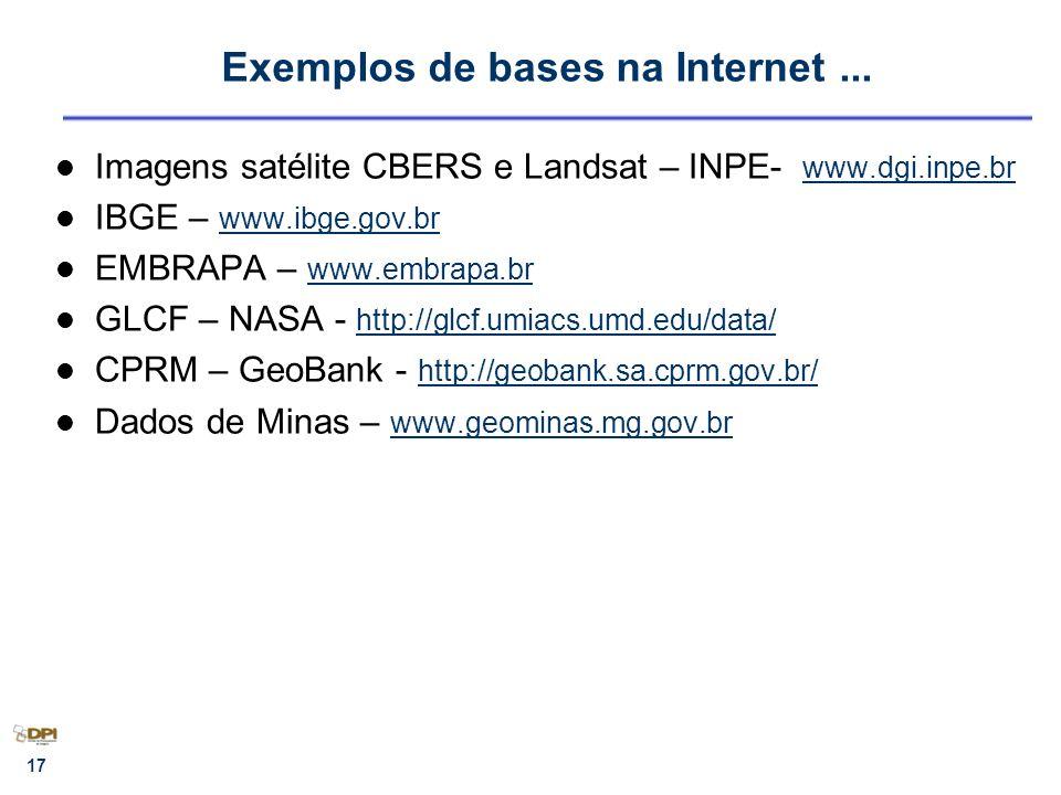 17 Exemplos de bases na Internet... Imagens satélite CBERS e Landsat – INPE- www.dgi.inpe.br www.dgi.inpe.br IBGE – www.ibge.gov.br www.ibge.gov.br EM