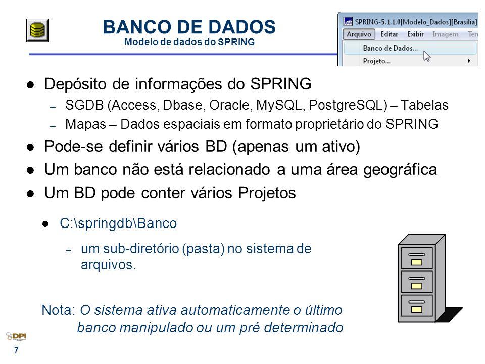 7 BANCO DE DADOS Modelo de dados do SPRING Depósito de informações do SPRING – SGDB (Access, Dbase, Oracle, MySQL, PostgreSQL) – Tabelas – Mapas – Dados espaciais em formato proprietário do SPRING Pode-se definir vários BD (apenas um ativo) Um banco não está relacionado a uma área geográfica Um BD pode conter vários Projetos C:\springdb\Banco – um sub-diretório (pasta) no sistema de arquivos.