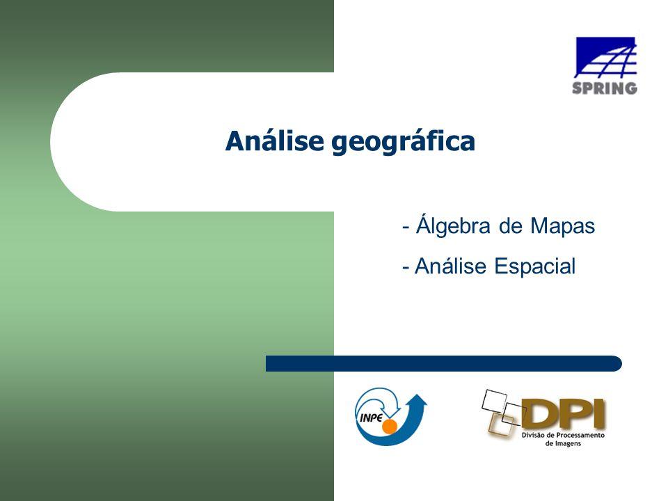 42 Exercício 24 - Mapa de Aptidão (operação Booleano) Programa em LEGAL { // Declaração das variáveis temáticas Tematico solo ( Pedologia ), decl ( Declividade ), geo ( Uni_Geologica ), apt( Aptidao ); // Instanciações das variáveis temáticas solo = Recupere(Nome= Mapa_Pedolico-PP ); geo = Recupere(Nome= Mapa_Uni_Geologicas-PP ); decl = Recupere(Nome= Mapa_Declividade-graus ); apt = Novo(Nome= Mapa_aptidao ,ResX=30,ResY=30, Escala=25000);...